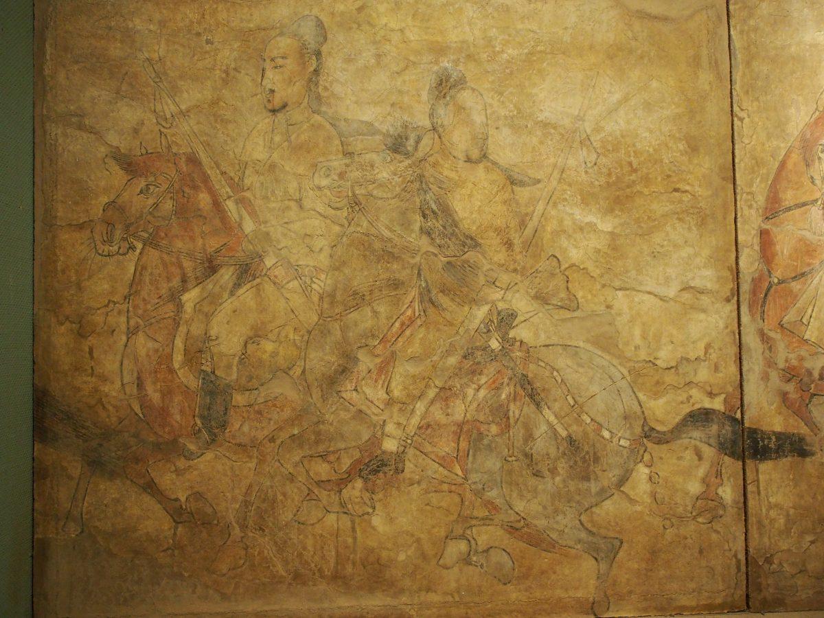 北齐娄叡墓鞍马游骑图·左